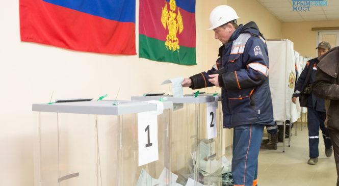 Строители Крымского моста голосуют на президентских выборах в вахтовых городках (ВИДЕО)